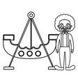 circus clown funny with pirate ship vector image