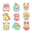 cute colorful cloth patches set embroidery or vector image vector image