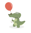 cute crocodile with balloon vector image