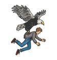 eagle bird kidnaps human sketch engraving vector image vector image