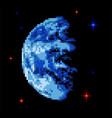 earth pixel art pixelated planet in space vector image vector image