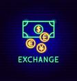 exchange neon label vector image vector image