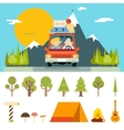 Family Trip Road Car Concept Flat Design Icon vector image