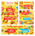 fast food burgers pizza and hot dogs vector image