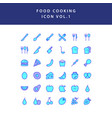food cooking icon filled outline set vol 1 vector image vector image