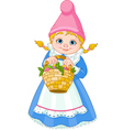 Garden Gnome with basket vector image vector image