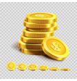 golden coins piles or money bank gold coin heaps vector image