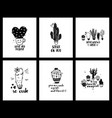 graphic set of love cacti cards and lettering vector image vector image
