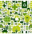 Green environment icons pattern background vector image