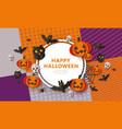 happy halloween - spooky banner with black animals vector image vector image