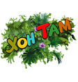 Hon Tam inscription on the background of green vector image vector image