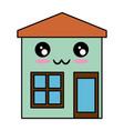 house exterior kawaii character vector image