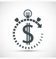 icon currency dollar sign in a stopwatch vector image vector image