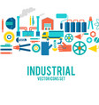 industrial colored decorative icons set vector image