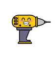 kawaii cute happy drill tool vector image
