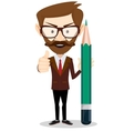 Man-Teacher with a pencils Stock vector image vector image