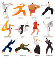 martial arts fighters flat set vector image
