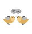 merry christmas pair of birds singing greetings vector image