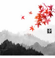 mountains with forest trees in fog and red vector image vector image