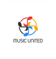 music united circle logo vector image vector image