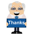 old man with thanks sign on white background vector image