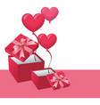 pink giftboxes open with balloons vector image vector image