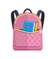 pink rucksack with big pocket with abc book pencil vector image vector image