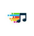pixel art music logo icon design vector image