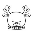 reindeer head horns decoration merry christmas vector image