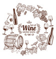 round frame with sketch wine icons vector image vector image