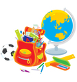school satchel globe football vector image vector image