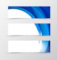 Set of header banner dynamic design with blue vector image vector image