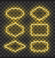 set of realistic glowing yellow neon frames vector image vector image