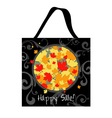 Shopping bag autumn design with leafs vector image