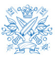 sketch of tattoo with a crowns and crown outline vector image vector image
