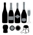 sparkling wine silhouettes vector image