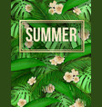 summer tropical leaf pattern background with text vector image vector image