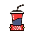 Takeaway fast food cup of sweet soda linear badge vector image