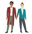 two gay cartoon men couple vector image vector image