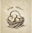 vintage background with Easter basket vector image vector image