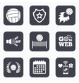 Volleyball and net icons Winner laurel wreath vector image vector image