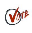 Vote typography Grunge red check mark in hand vector image vector image