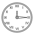 Wall clock icon outline style vector image vector image