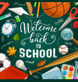 welcome back to school student education supplies vector image vector image