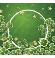 white circle frame with clovers for st patricks vector image vector image