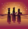 wise men traveling in the desert christmas scene vector image vector image