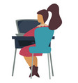woman at computer office worker and laptop vector image