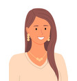 young pretty girl smiling wears jewelry female vector image