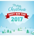 Christmas Mountains Snowfall Landscape with Trees vector image
