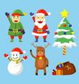 flat cute christmas character vector image